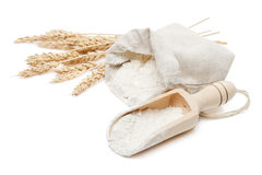 Wheat in bag and scoop Royalty Free Stock Photos