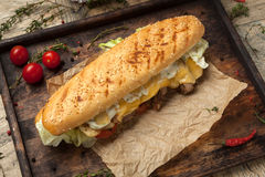 Wheat baguette, beef tenderloin, grilled royal cheese, tomato, i Royalty Free Stock Images