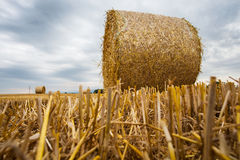 Wheat Bale and Storm Clouds II Royalty Free Stock Photo
