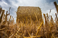 Wheat Bale and Storm Clouds VI Royalty Free Stock Image