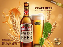 Wheat beer ads. Beer bottle and glass with attractive beer and ingredients behind them, 3d illustration on glitter bokeh background royalty free illustration