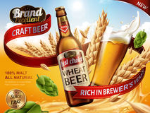 Wheat beer ads. Beer bottle and glass with splashing beer and ingredients in the air, 3d illustration vector illustration