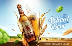 Wheat beer ads. With flying ingredients and liquid on bokeh golden wheat field background in 3d illustration vector illustration