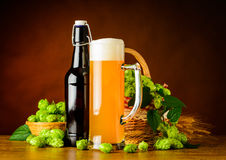 Wheat Beer and Hop Flower Royalty Free Stock Images
