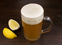 Wheat beer and lemon Stock Photography