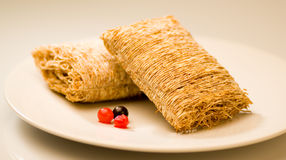 Wheat biscuit breakfast Stock Images
