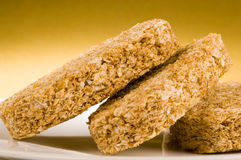 Wheat biscuit breakfast. Close up of a wholesome wheat biscuit breakfast Royalty Free Stock Image