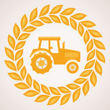 Vector wheat border with symbol of tractor Royalty Free Stock Photo
