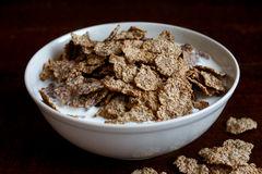 Wheat bran breakfast cereal in bowl. Royalty Free Stock Photography