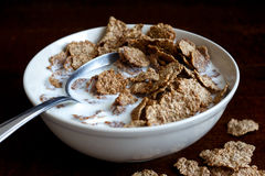 Free Wheat Bran Breakfast Cereal In Bowl. Stock Image - 66094871