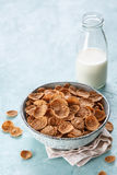 Wheat bran breakfast cereal with milk Stock Photography
