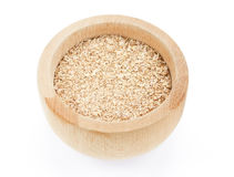 Wheat bran in wooden bowl royalty free stock images