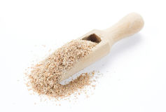 Wheat bran in wooden spoon royalty free stock photo