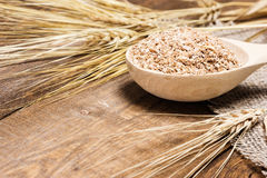 Wheat bran in wooden spoon with wheat ears Royalty Free Stock Image