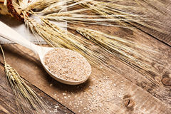 Wheat bran in wooden spoon with wheat ears. Dietary supplement to improve digestion. Source of dietary fiber. Wooden planks background Stock Photos