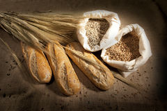 Wheat Bread. And Wheat on braun background Royalty Free Stock Images