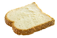 Wheat bread. A slice of wheat bread on a white background. This has a clipping path Royalty Free Stock Photos