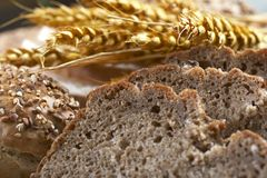 Wheat and bread background Stock Photo