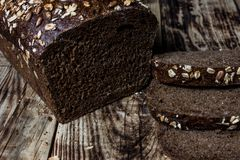 wheat bread baked at home, bio ingredients, very healthy with seeds royalty free stock photos