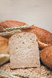Wheat bread and grain ears Royalty Free Stock Photos