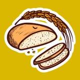 Wheat bread icon, hand drawn style royalty free illustration