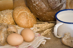 Wheat, bread, milk and eggs Royalty Free Stock Image