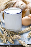 Wheat, bread, milk and eggs Stock Photo