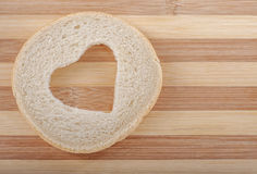 Wheat Bread Slice with Heart Stock Photos