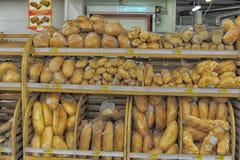 Wheat bread in supermarket Stock Photo