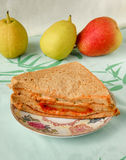 Wheat bread three decker sandwich inside spicy chicken Royalty Free Stock Images