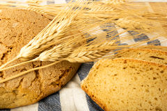 Wheat bread on a towel Stock Photo