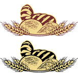 Wheat bread vector illustration in two colors Stock Photos