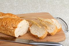 Wheat Bread and Wheat Heads Stock Images
