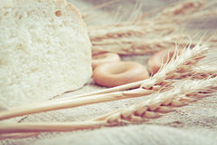 Wheat and bred on fabric Royalty Free Stock Photo