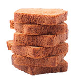 Wheat brown bread slices on white background Stock Image