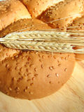 Wheat and bun Stock Photo