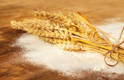 Wheat bunch and flour on vintage wood board Stock Photography