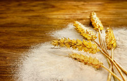 Wheat bunch and flour on vintage wood board Royalty Free Stock Images
