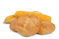 Wheat buns with corn Royalty Free Stock Photos