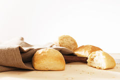 Wheat buns with linen fabric Royalty Free Stock Photo