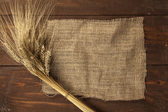 Wheat on a burlap Royalty Free Stock Photo