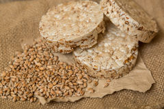 Wheat Cakes. Unleavened bread. Some Wheat Cakes close-up shot on an old wooden table Royalty Free Stock Photography