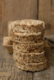 Wheat Cakes. Unleavened bread. Some Wheat Cakes close-up shot on an old wooden table Royalty Free Stock Image