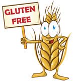 Wheat cartoon with signboard. On white  background Royalty Free Stock Photos
