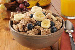 Wheat cereal with blueberries and banana Royalty Free Stock Photography