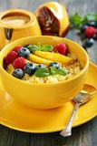 Wheat cereal with fruit and berries. Royalty Free Stock Photo