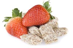 Wheat cereal and strawberries Royalty Free Stock Photography