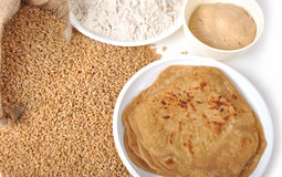 Wheat - Chapati & flour. Sacks of wheat grains, chapati, wheat flour on isolated white background Royalty Free Stock Photo
