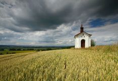 Wheat and chapel Royalty Free Stock Images