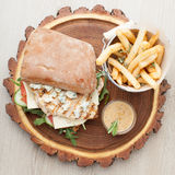 Wheat chicken sandwich burger, fried potatoes, mustard sauce. Se Royalty Free Stock Photos